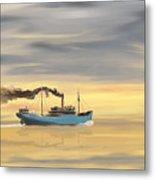 Steamship Freighter Heading Towards The Ocean Metal Print