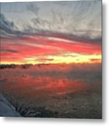 Steamy Winter Sunset Metal Print