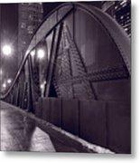 Steel Bridge Chicago Black And White Metal Print