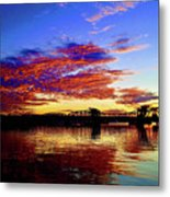 Steel Bridge Sunset Silhouette Metal Print