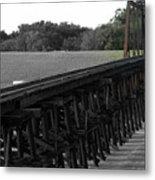 Steel Rails Metal Print