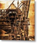 Steelmill Boatdock Cranes Detroit Metal Print