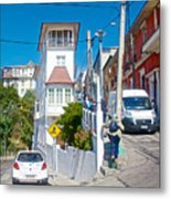 Steep Streets Up The Hills In Valparaiso-chile   Metal Print