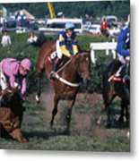 Steeplechase Spill - 1 Metal Print by Randy Muir