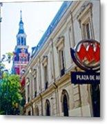 Steepled Building Being Restored On Side Street Of Plaza De Armas In Santiago-chile  Metal Print