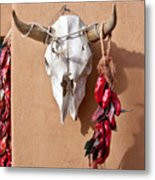 Steer Skull In Santa Fe Metal Print