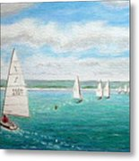 'steer The Course' - West Kirby Marine Lake, Wirral Metal Print