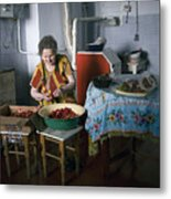 Stefania Cleans Strawberries In Chortkiw Ukraine Metal Print