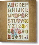 Stencil Alphabet Fun Metal Print