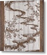 Stencil For Textile With Pattern Of Bush Clover And Meandering Stream Metal Print
