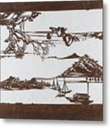 Stencil With Pattern Of Seascape On White Ground Metal Print