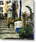 Step Street In Obidos Metal Print