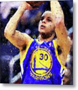 Steph Curry, Golden State Warriors - 19 Metal Print