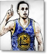 Steph Curry, Golden State Warriors - 20 Metal Print