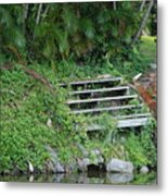 Steps In The Grass Metal Print