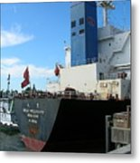 Stern Of Ship Great Prosperity At Dock Metal Print
