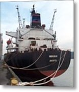 Stern Of The Vessel Indrani At Dock Metal Print