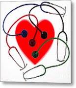 Stethoscopes And Plastic Heart Metal Print