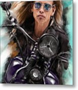 Steven Tyler On A Bike Metal Print