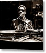 Stevie Wonder Softer Gentle Mood - Sepia Metal Print