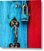 Still Life In Blue And Red Metal Print