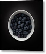 Still Life Of A Bowl Of Blueberries. Metal Print