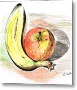 Still Life Of Apple And Banana  Metal Print