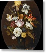 Still Life Of Flowers In A Glass Vase Metal Print