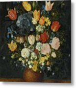 Still Life Of Flowers In A Stoneware Vase Metal Print