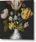 Still Life Of Flowers In A Wan-li Vase Metal Print