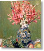 Still Life Of Fruits And Flowers Metal Print