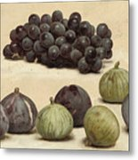 Still Life Of Grapes And Figs Metal Print
