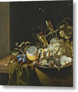 Still Life Of Hazelnuts Grapes Oysters And Other Foods On A Draped Table Metal Print