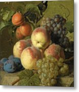 Still Life Of Peaches  Grapes And Plums On A Stone Ledge With A Bird And Butterfly Metal Print