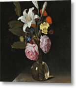 Still Life Of Roses Lilies And Other Flowers In A Glass Vase On A Marble Ledge Metal Print