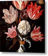 Still Life Of Variegated Tulips In A Ceramic Vase With A Wasp A Dragongly A Butterfly And A Lizard Metal Print