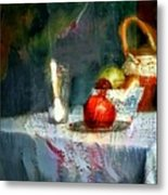 Still Life Oil Painting Table With Pomegranate Ceramic Kettle Glass Knife And Bowl Of Fruit Pears Linen Sketch Painting Life Drawing Metal Print