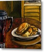Still Life Pancakes And Coffee Painting Metal Print