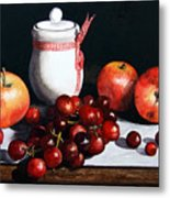 Still Life 'preserve Pot And Fruit' Metal Print