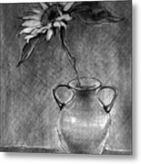 Still Life - Vase With One Sunflower Metal Print