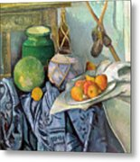 Still Life With A Ginger Jar And Eggplants Metal Print