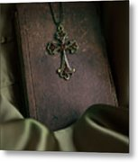 Still Life With An Old Book And Cross Pendant Metal Print