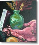 Still Life With Apple  Book And Vase Metal Print
