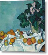 Still Life With Apples And A Pot Of Primroses, 1890 Metal Print