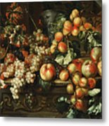 Still Life With Apples And Grapes Metal Print