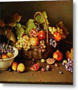 Still Life With Basket And Pomegranate Metal Print