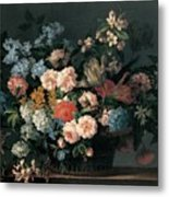 Still Life With Basket Of Flowers Metal Print