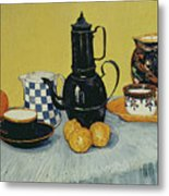 Still Life With Blue Enamel Coffeepot, Earthenware And Fruit, 1888 Metal Print