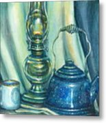 Still Life With Blue Tea Kettle Metal Print