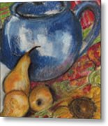 Still Life With Blue Teapot One Metal Print